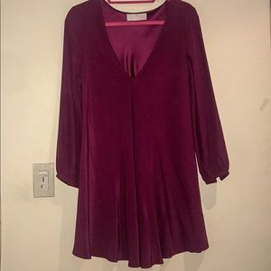 Amanda uprichard silk burgundy long sleeve dress